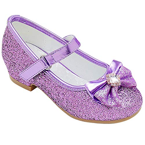Furdeour Mary Jane Shoes for Girls Size 11 Wedding Princess Purple Dress Shoes 5 Yr Bridesmaid Kids Party Flower Low High Heel Glitter Shoes for Little Girls Cosplay Sequins (Purple 11)