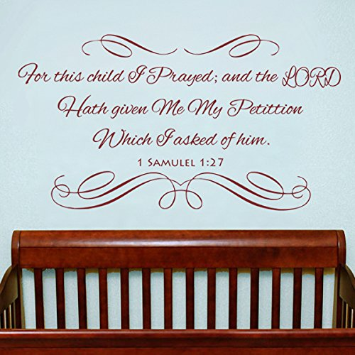 Vinyl Christian Wall Decal Baby Nursery Wall Quote Bible Scripture Wall Lettering Saying Nursery Room Art Decoration For This Child I Prayed Custom by WallsUp