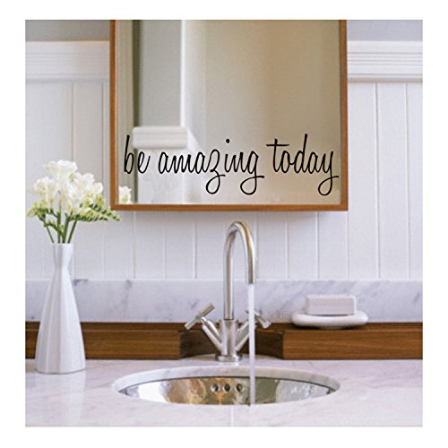 Bestjybt Be Amazing Today Waterproof Removable Decal Mirror Quotes Vinyl Wall Decals -
