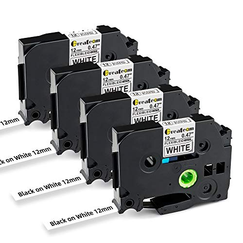 """Greateam Compatible TZe Flexible-ID Tape Replacement for Brother TZe-FX231 TZe Tape 12mm 0.47"""" White Ptouch Label Maker Tape Use for Brother Label Maker PT-D210 PT-D600 PT-D400, 4-PK"""