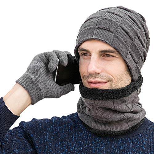 VBIGER Herren Damen Wintermütze, Schal und Touchscreen-Handschuhe Geschenkset (Grau)