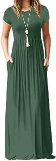 فستان ماكسي كاجوال طويل باكمام قصيرة بتصميم فضفاض ولون موحد مع جيوب للنساء من بريمودا