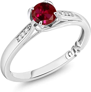 10K White Gold 0.64 Ct Round Red Created Ruby and Diamond Engagement Ring