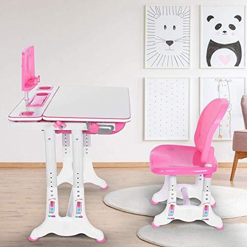 Ausla - Set scrivania e Sedia per Bambini, scrivania per Bambini, postazione di Lavoro Scolastica per Bambini, ergonomica e Regolabile in Altezza, con cassetto portaoggetti