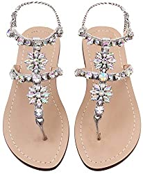 White Crystal with Rhinestone Bohemia Flip Flops T-Strap Sandal