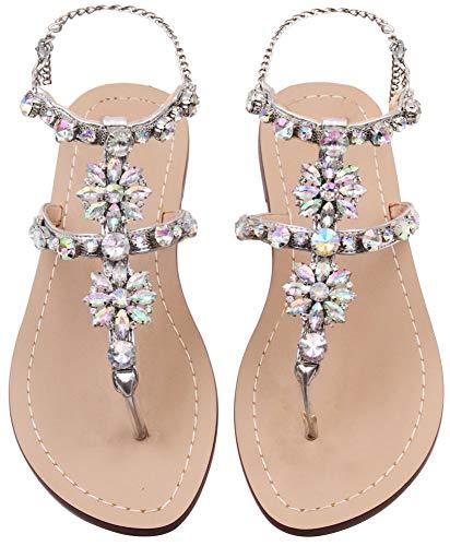 Women's Flat Sandals Crystal Rhinestone Beaded Bohemian Dress Flip-Flop Gladiator Shoes Size 10.5 Silver