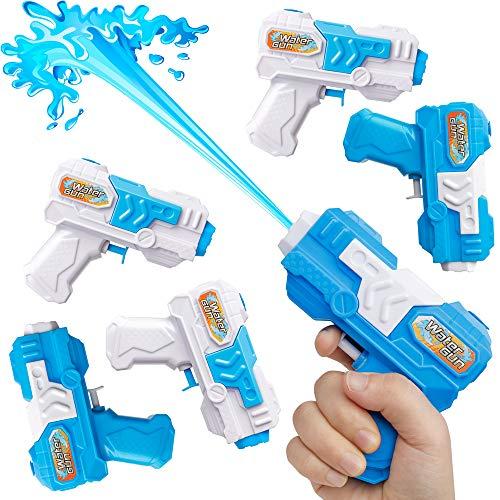 D-FantiX Water Gun 6 Pack, Small Water Blaster Soaker Squirt Guns Bulk for Water Fighting Summer Pool Beach Party Favors Toy for Kids Boy Girl