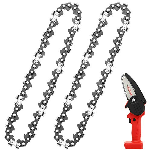 Honoson Mini Chainsaw Replacement Cordless Electric Portable Chainsaw Chain, 24 V Mini Cordless Electric Chainsaw Pruning Shears Chainsaw for Wood Branch Cutting (2 Pieces,4 Inches)