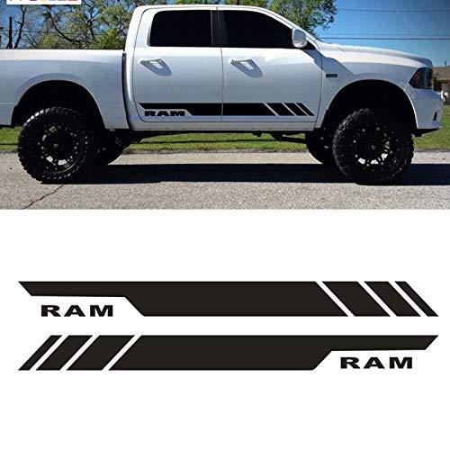 Auto Aufkleber Wasserdicht Vinyl Decals Streifenmuster für Dodge Ram Seitenschweller Kratzer abdecken Dekoration Styling,Schwarz