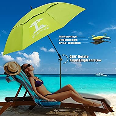 Fishing patio beach umbrella with 4.39lb, windproof/waterprool/portable Tilt and Telescoping Pole/Sand Anchor sturdy umbrella, use for beach/lawn/back yard/patio/park/shadezilla/outdoor travel/garden