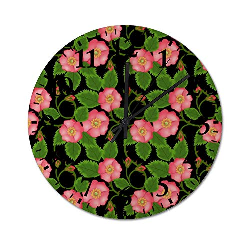 DKISEE Silent Wooden Wall Clock Roses Pattern05 Decorative Simple Roun