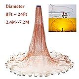 Cenphua Lancer Facile à la Main Filet de pêche Diamètre 2,4m -7,2m Lignes de Pneu Cast Net (Diamètre 2,4m / 8ft)