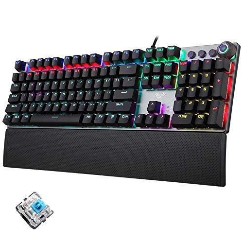 Zhangli Redes de computadoras F2088 108 Teclas con luz mezclada Interruptor Azul con Cable USB Gaming Keyboard con botón de Metal Redes de computadoras (Color : Black)
