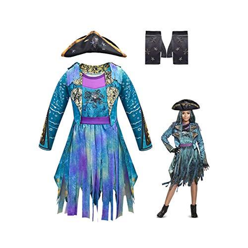 Shihong-G Descendants 3 Disfraz Mal Cosplay Disfraz Halloween Audrey Mal Evie Carlos Jay Celia Disfraz Impreso en 3D Traje Mono Vestido de Fiesta Elegante para niñas niños