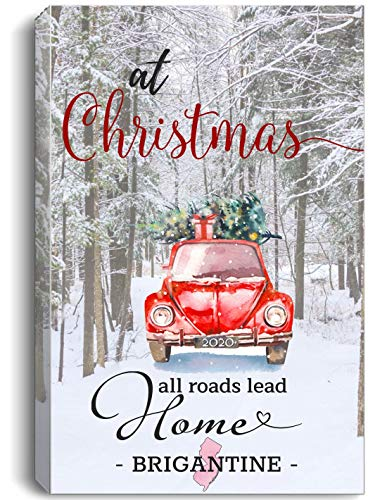 Christmas Canvas Wall Art 16'x24' for Home Decor Brigantine New Jersey NJ State - at Christmas All Roads Lead Home with Merry Christmas Red Truck and Snow Decorated Tree