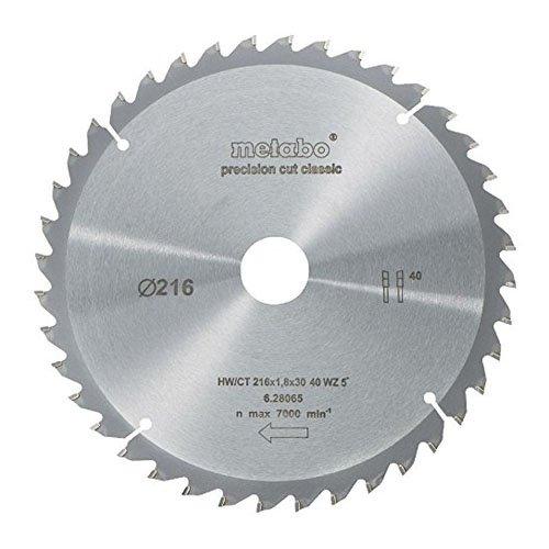 Metabo 628065000 - Disco de corte HW/CT para sierra circular (216 x 30, 40 WZ, ángulo de 5°)
