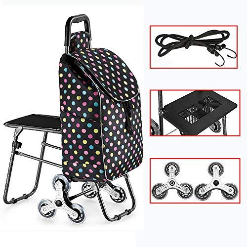 FZSQ 2-in-1 Treppensteiger Einkaufstrolley - Abnehmbare Regenfeste Tasche, 6-Rad-Mechanik bis 50 Kg Klappbarer Shopper (Tupfenmuster),Stainlesssteel
