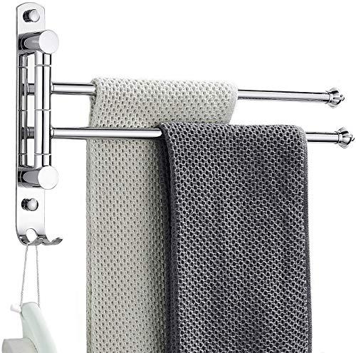 BangShou Girevole Portasciugamani a due bracci da Parete rotante Autoadesivo Porta Asciugamani in acciaio inossidabile, senza foratura