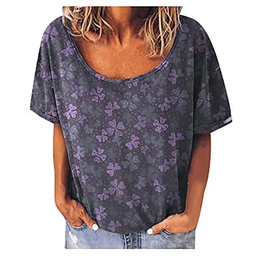 FOTBIMK Camisetas para mujer de moda de cuatro hojas impresas de manga corta camiseta de cuello redondo suelta verano casual camiseta Tops