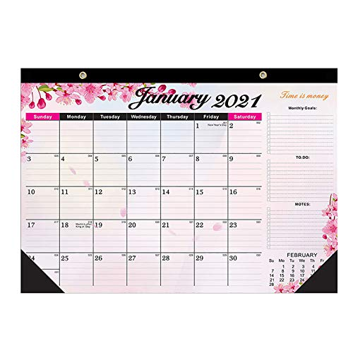 jieGorge 2021 Desk Calendar With Notes And Julian Date Jan 2021 Thick Paper With Colorful, Home Decor for Easter Day (Multicolor)