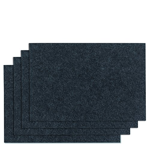 kela (4 x 12323 Set de Table Felia-4 Pièces, Feutre, Gris Foncé, 45 x 30 x 2 cm