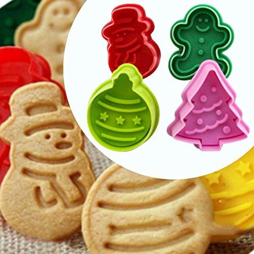 Itian Lot de 4 Emporte-pièces de Noël pour Décorer Biscuits et Gâteaux