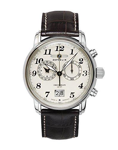 Zeppelin Herrenuhr Chronograph Quarz mit Lederarmband – 76845