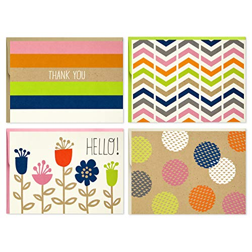 Hallmark Blank Cards (Stripes, Dots, Flowers, 40 Cards with Envelopes)