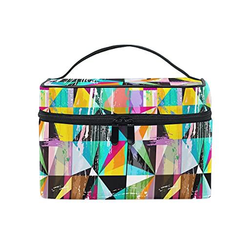 HaJie - Bolsa de maquillaje de gran capacidad para organizar líneas geométricas artísticas de viaje, portátil, neceser, bolsa de almacenamiento, bolsa de lavado para mujeres y niñas