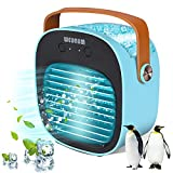 Portable Air Conditioner, Personal Air Cooler with Icebox,Desktop Air Conditioners Fan with Handle, Cordless Personal Air Cooler with 3 Speeds for Room Office Dorm and Outdoor (blue)