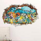 Stickers muraux 3D Stickers muraux enfants Pokemon Accueil Salon Stickers Bricolage Monstre de Poche Enfants Bébé Chambre d'enfant Chambre 3D Jeu PVC Murale Affiches (Color : L 60x90cm)