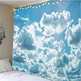 HANTAODG Wandteppich Wandtücher Blauer Himmel Und Weiße Wolken 140X210Cm Wandbehang Hochwertige Wandteppich Tapisserie Wandtuch Hausdeko Bettdecke Strandtuch Tagesdecke Deko