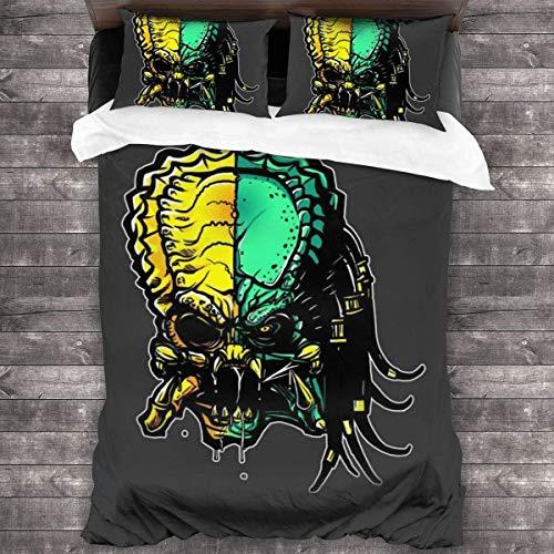 Aliens.vs.Predator - Juego de cama infantil, diseño de perros Primal Hunt, funda nórdica con tema de juego (Aliens2, 140 x 210 cm + 50 x 70 cm x 2)