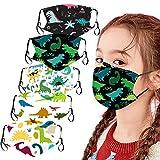 WoWer Kinder Mundschutz multifunktionaler Stoff Cartoon Print Gesichtsabdeckung Tierdruck atmungsaktiver Baumwollstoff Gesichtsabdeckung Waschbarer Mund- und Nasenschutz Tiermotiv Jungen Mädchen