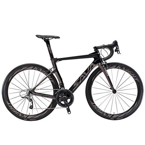 SAVADECK Phantom3.0 Carbon Rennrad 700C Kohlefaser Rennräder Vollcarbon Fahrrad mit Shimano Ultegra R8000 22 Gang Schaltgruppe Continental Reifen und Fizik Sattel (Schwarz Grau-(50mm Räder), 44cm)