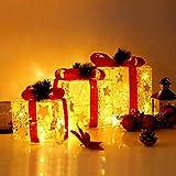 CCLIFE 3 cajas de regalo led decorativas con luz LED,cajas preiluminadas para decoración navideña, Color:DGSBX002D0000wes