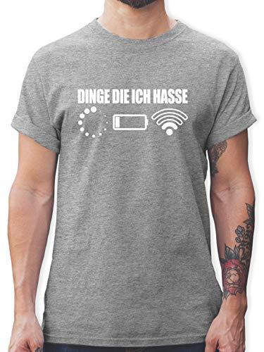 Nerds & Geeks - Dinge die ich Hasse - weiß - L - Grau meliert - Geschenk - L190 - Tshirt Herren und Männer T-Shirts