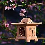 erddcbb Pagoda Candelabro Candelero Adorno Escultura China Japonesa Decoración de Linterna Jardín Patio Cerámica Luz de té, A