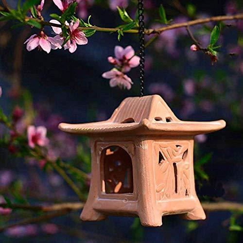 Pagoda Candlestick Candle Holder Ornament Chinese Japanese Sculpture Lantern Decor Garden Patio Ceramic Tea Light,A