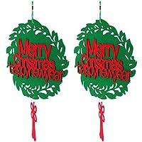 Amosfun 2Pcsメリークリスマスオーナメントメリークリスマスサインリースクリスマスハンギングドアサインクリスマスハンギングフェルトペンダントクリスマスツリーウィンドウドア屋外装飾
