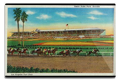 Lantern Press Arcadia, California - Santa Anita Park Horse Races - Vintage Halftone 2372 (6x9 Aluminum Wall Sign, Wall Decor Ready to Hang)