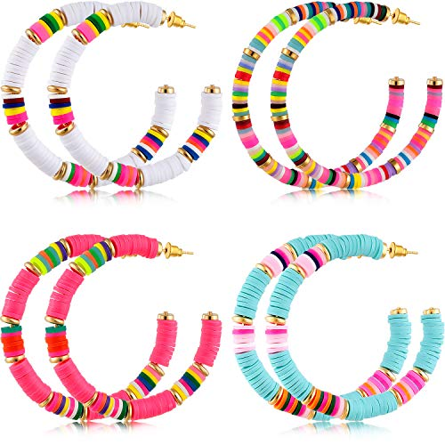 4 Pairs Heishi Hoop Earrings Rainbow African Vinyl Disc Bead Earrings Colorful Heishi Beaded Open Hoop Earring for Women