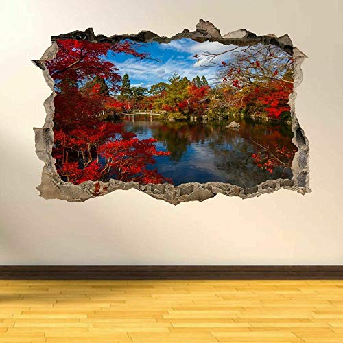 3D Wall Tattoo Wall Sticker Breakthrough Japanese River Flowers Wall Decor Boys and Girls Bedroom Sticker Wallpaper Decals 12x20inch(30x50cm)
