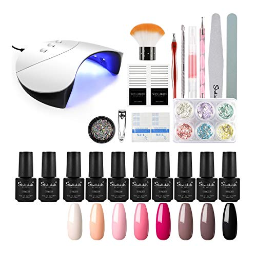 Shelloloh Kit Smalto Semipermanente Gel per Unghie 8pcs Smalti in Gel Unghie Set Completo 36W Lampada LED+UV per Unghie Smalto in Soak off Gel Professionale Kit Manicure Completo