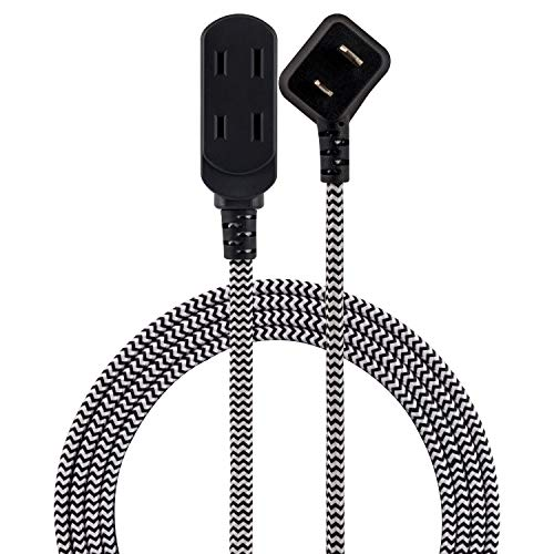 Cordinate Designer Extension, 2 Prong Power Strip, Extra Long 8 Ft Cable with Flat Plug, Braided Chevron Fabric Cord, Slide-to-Lock Safety, Black/White, 39984 3 Polarized Outlets