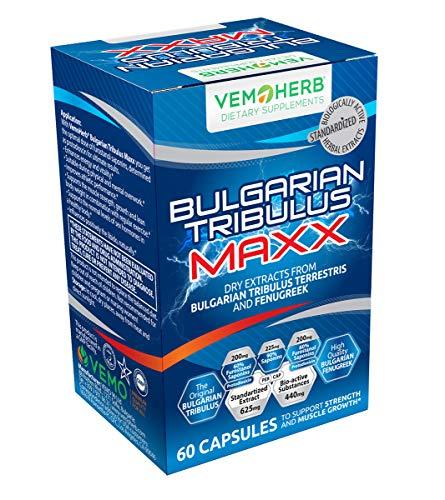 VEMOHERB Bulgarian Tribulus Terrestris mit 60% Protodioscin - 1200 mg - Testosteron Booster für Muskelaufbau & Libido - 90 Kapseln - Premium Qualität aus Bulgarien
