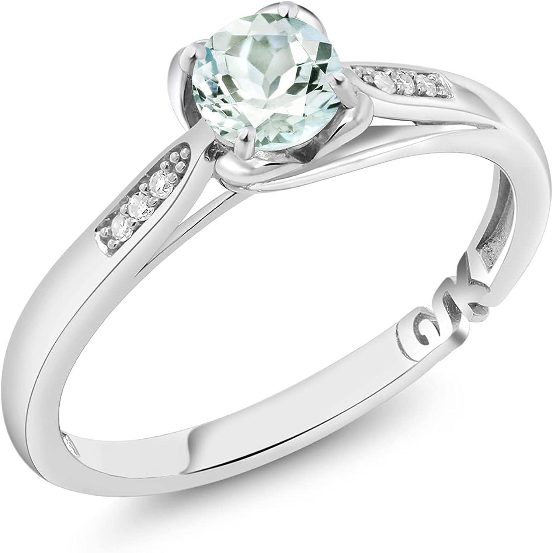 Gem Stone King 10K White Gold Sky Blue Aquamarine and Diamond Women Engagement Ring (0.44 Ct Round, Gemstone Birthstone)