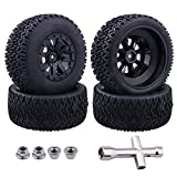 Hobbypark Pre-Glued RC Tires and Wheels 12mm Hex for 1/10 Scale RC Short Course Truck Traxxas Slash 4x4 2WD, Redcat Blackout XTE SC TR10, Losi 22S SCT, 4PCS (Style C)