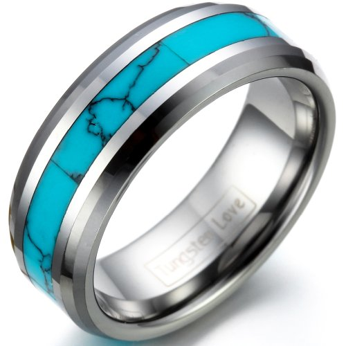 JewelryWe Schmuck Wolframcarbid Herren-Ring Synthetische Türkis Inlay 8mm Bandring Eheringe Verlobungsringe Größe 67