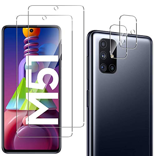 QULLOO Panzerglas Schutzfolie für Samsung Galaxy M51 [2 Stück] + Kamera Panzerglas für Samsung Galaxy M51 [2 Stück], 9H Festigkeit Anti-Kratzen Panzerglasfolie